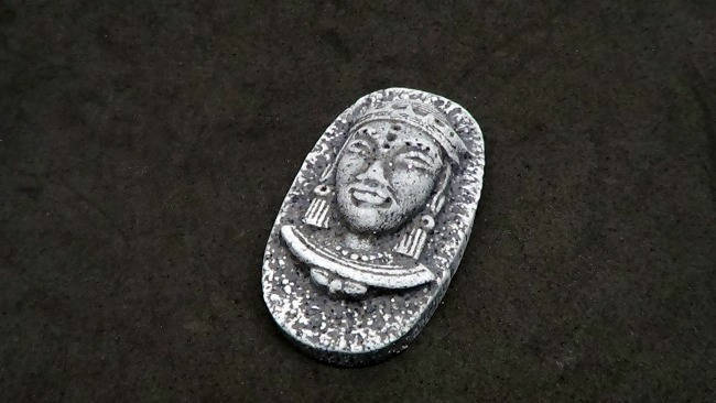 40 mm tall Handmade Cabochon - Faux Basalt Ancient Face