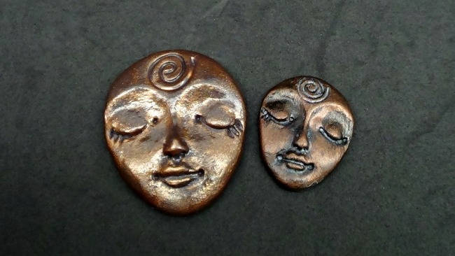 Ryolite Rock Finish - Larger Art Doll Face Cabochon - handmade from Polymer Clay