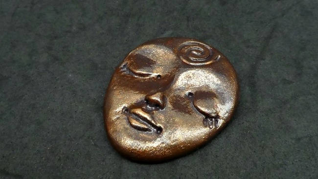 Larger Art Doll Face Cabochon in Antique Bronze Finish - handmade from Polymer