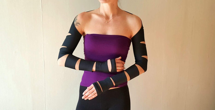 BLACK SLEEVES GOTH Sleeves Fitted Sleeves Festival Crop Top 2017 Outfit Cut Out