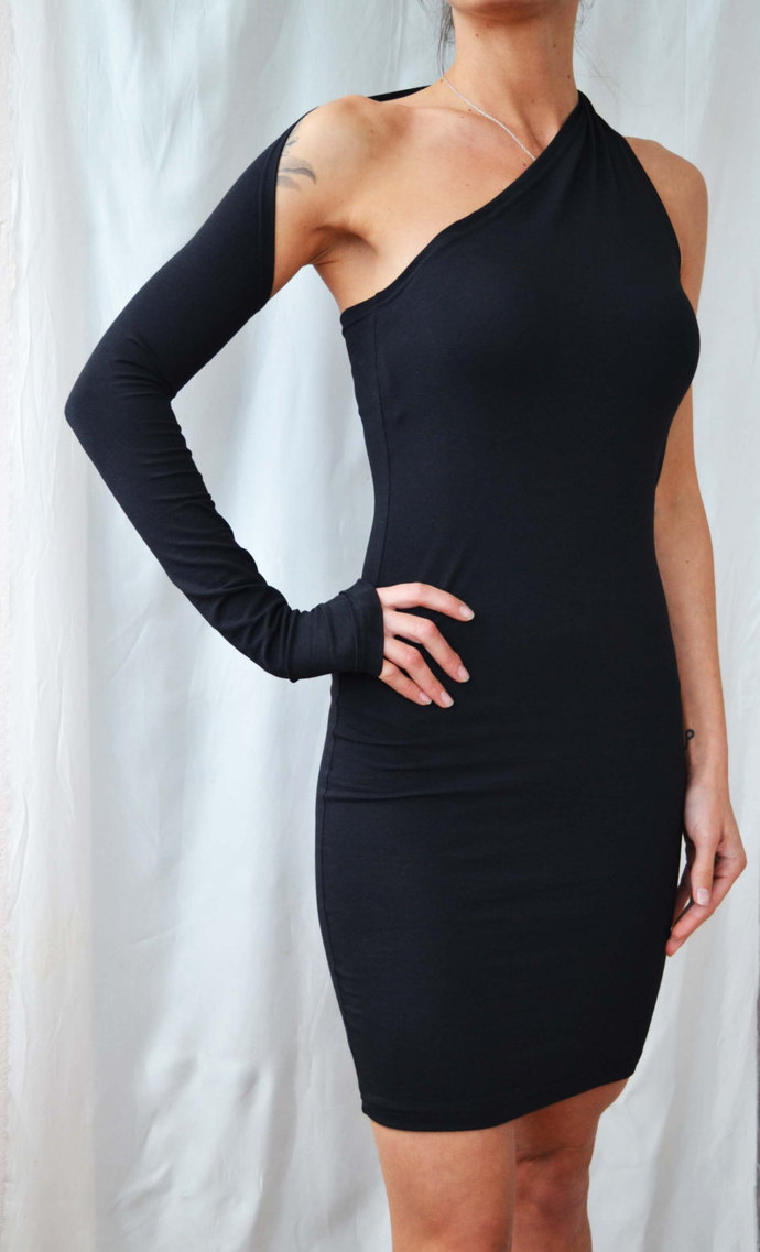 ONE SHOULDER DRESS Sexy Black Dress One Sleeve Night out Dress Black Party