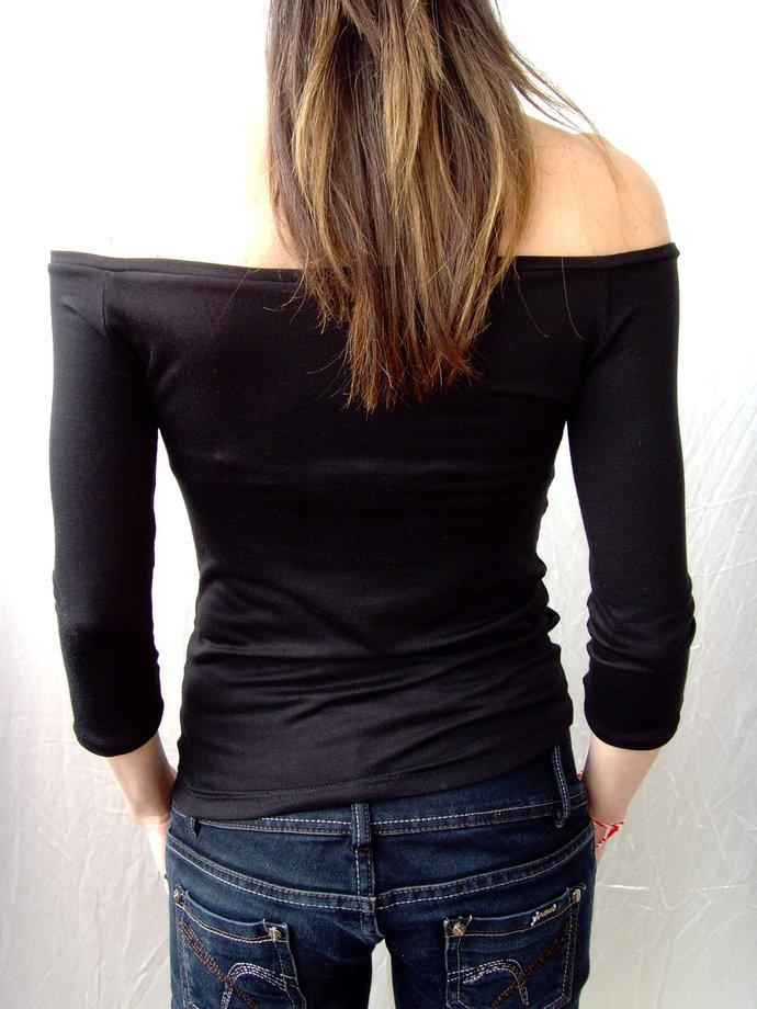 OFF THE SHOULDER Tshirt Top Sexy Black Tshirt Top Off The Shoulder Off The
