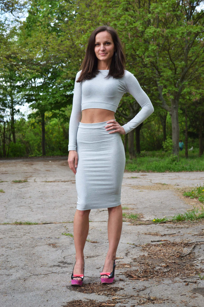 Set Of Two 2 High Waist High Waisted Pencil Tight Skirt And Short Cropped Top