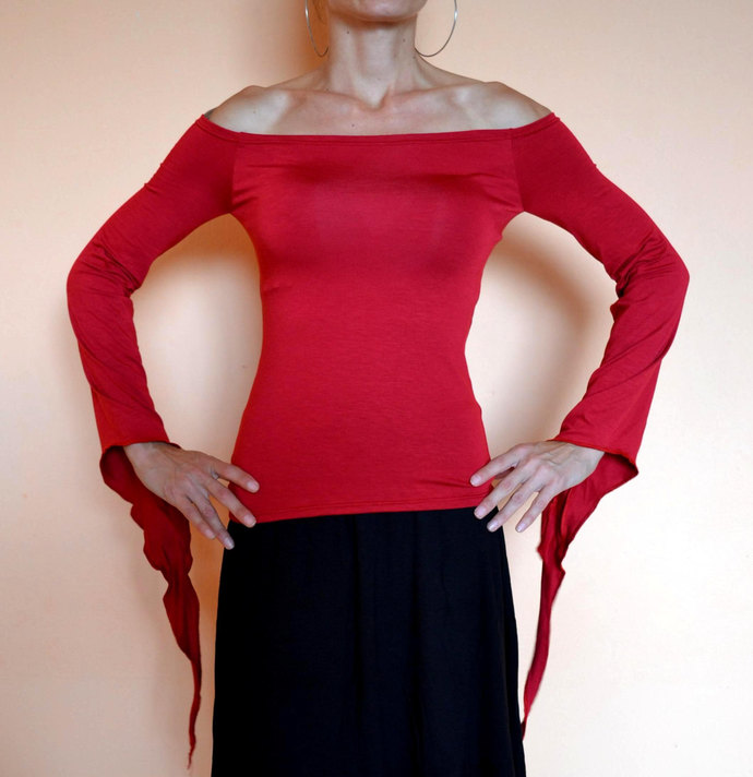 RED GOTH TOP Off The Shoulder Top Pixie Top Handmade Goth Top Off The Shoulder