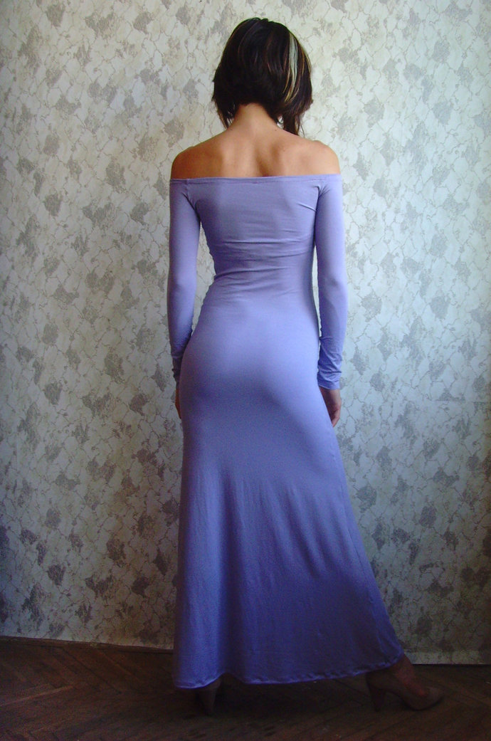 OFF The Shoulder Dress MAXI DRESS Floor Length Dress Lilac Dress Maxi Dress Long