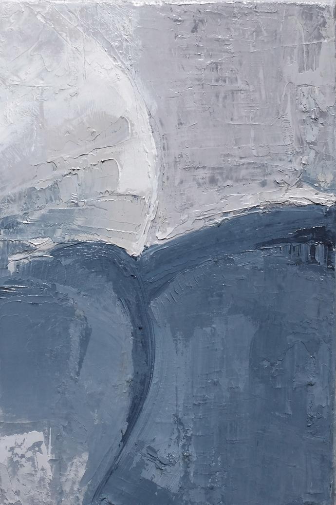 Contemporary Wall Art, Modern Art, gray and sky- blue , cambridge blue, set of 2
