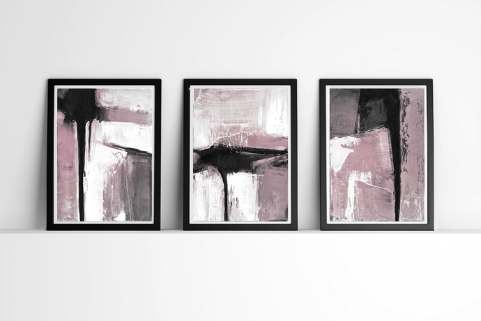 Abstract art set of 3 prints black white and pink wall art prints