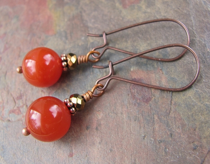 Handcrafted Carnelian Earrings Copper Gemstone Earthtones Locking French Hooks,