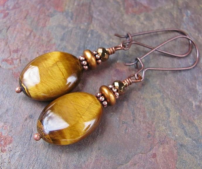Golden Tiger Eye Gemstone Earrings, Copper Jewelry, Silpada Style Earrings
