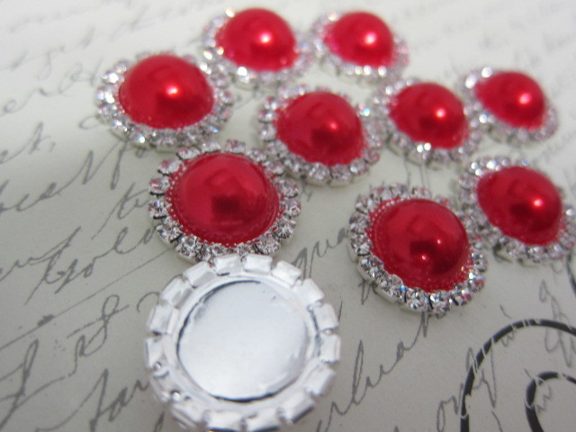 5pcs Pearl Buttons - 21 mm Flatback