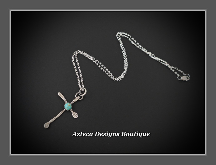 Rugged Cross Turquoise Silver Necklace