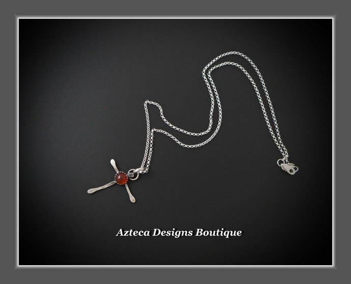 Rugged Cross Carnelian Silver Necklace