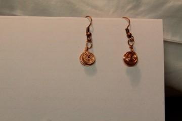 Copper Double Spiral Earrings