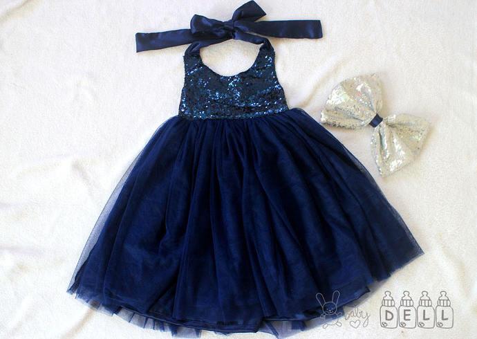 Navy blue flower girl dress  Flower girl dress for wedding Flower girl dress