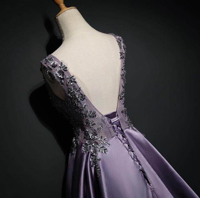 Long Prom Dress, Satin Prom Dress, Sexy Prom Dress, Backless Prom Dress