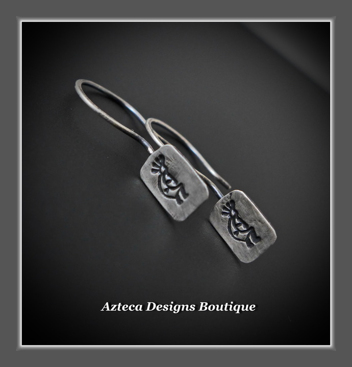 Kokopelli Hand Fabricated Hand Stamped Argentium (93.5) Silver Earrings