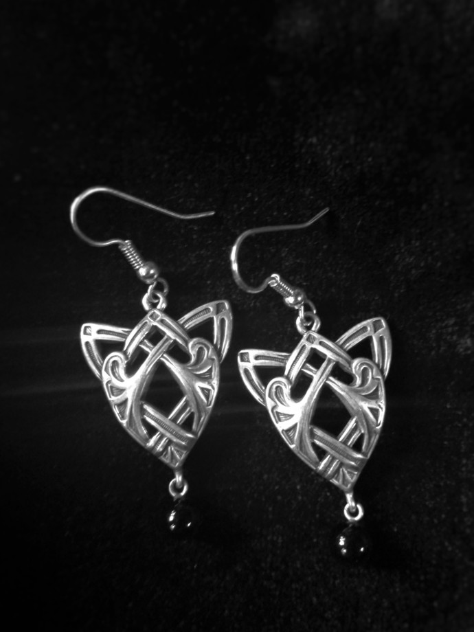 Tribal Earring Pair with Black Glass Bead Dangle