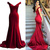 Burgundy Prom Dresses,Mermaid Prom Dress,Satin Prom Dress,Off The Shoulder Prom