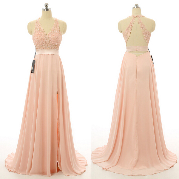 New Prom Dresses,Blush Pink Evening Gowns,Sexy Formal Dresses,Chiffon Prom