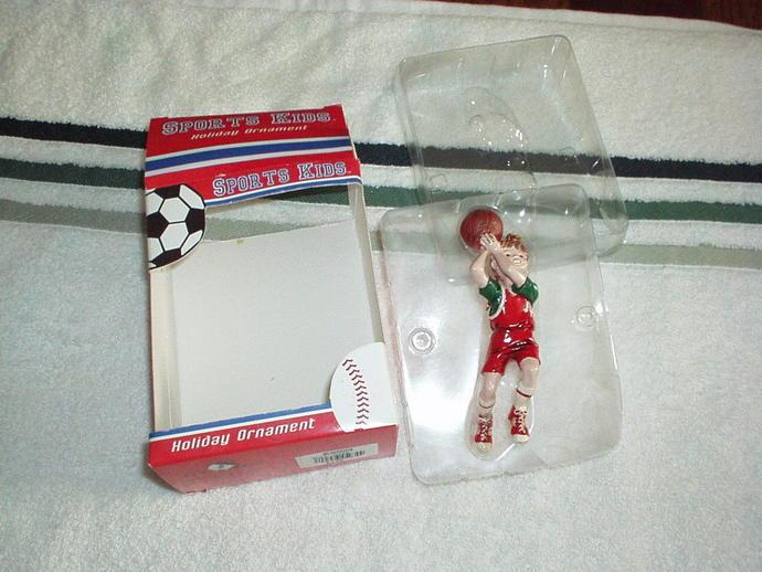 1990's SPORTS KIDS Boy Basketball Player Holiday ORNAMENT Figurine By KURT S.