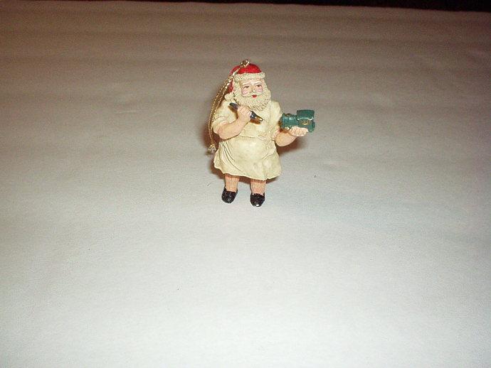 1960's SANTA Holiday Ceramic ORNAMENT Figurine in Apron Carving Train - Rare