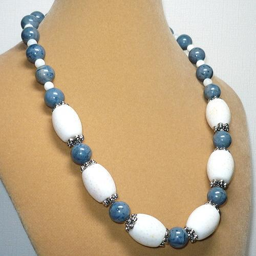 "Chunky White & Blue Coral 19 1/2"" Necklace Set"