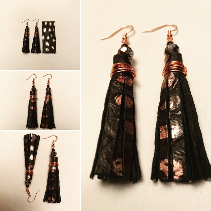 Metallic Croc Leather Tassel Earrings