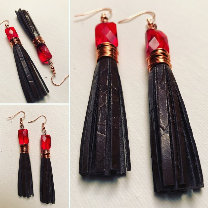 Brown Kaleidoscope Leather Tassel Earrings