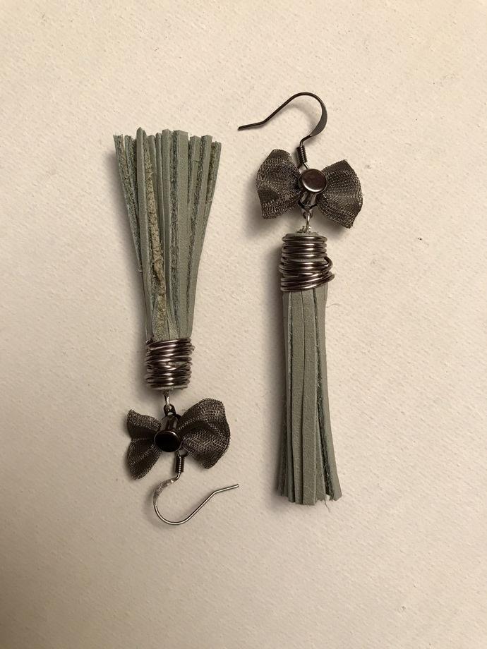 Green Bows Leather Tassel Earrings
