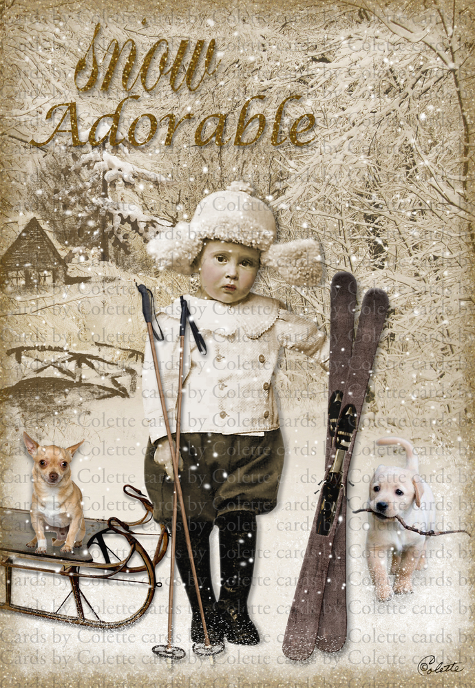 The Little Sport Digital Collage Greeting Card893