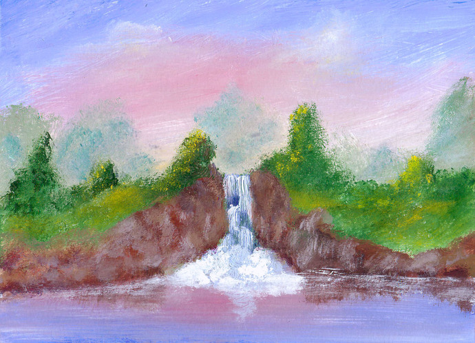 Cliff Waterfall - Original acrylic painting by Dawn Blair
