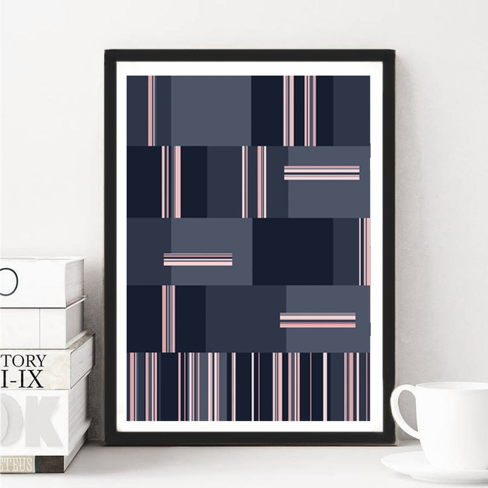 Office decor, Navy blue and pink, Large Wall Art, Modern Painting, Modern