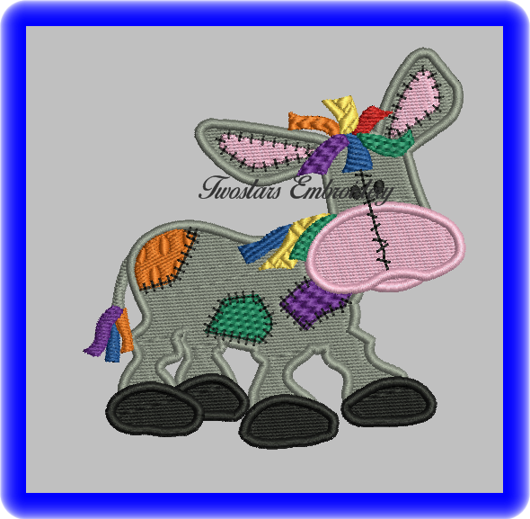 Cute patch donkey in 4x4 fill stitch & 5x7 6x10 8x8 7x8 applique digital