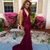 Sexy Mermaid Open Back Evening Dresses,Mermaid Deep Burgundy Prom Dresses,Sexy
