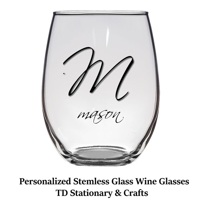 Personalized Stemless Glass Wine Glasses / Set of 2