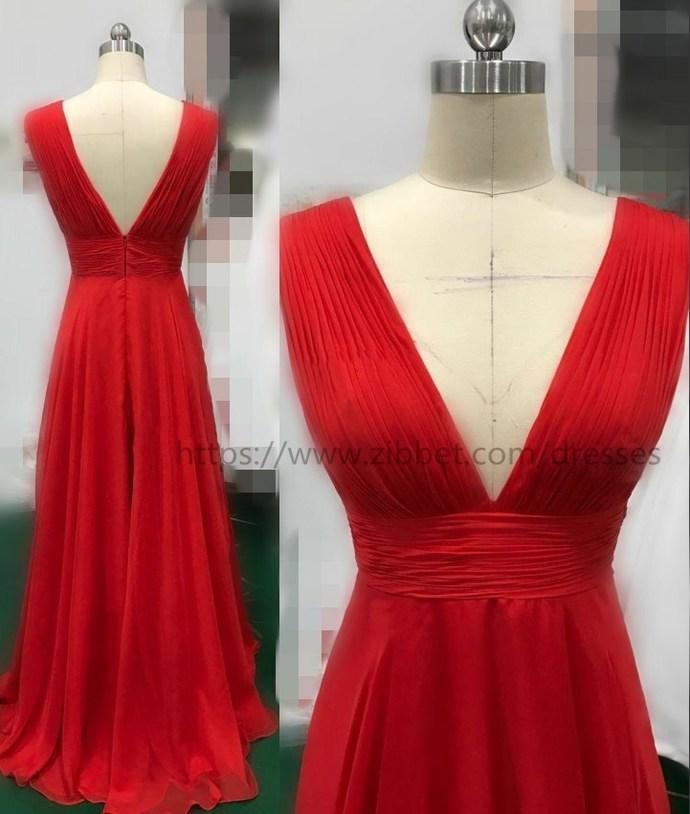 Sexy Slit Evening Dress,V-neckline Red Evening Gowns,Split Prom Dresses,Slit
