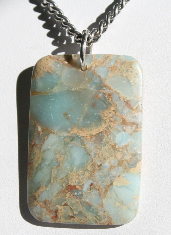 Men's Aqua Blue Jasper Statement Necklace, Snake Skin Jasper Pendant Jewelry,