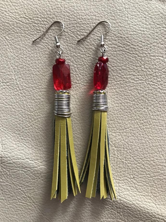 Boho Chic Pleather Tassel Earrings