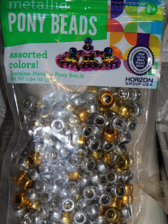 Brand New Metallic Pony Bead Mix-Silver Gold 1.94 oz bag