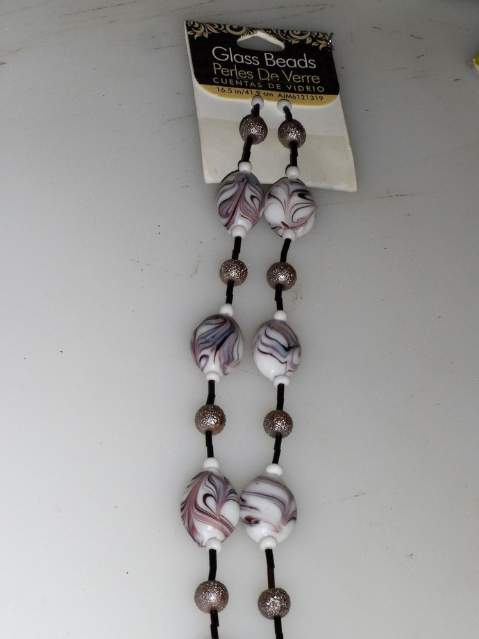 "Brand New Glass Beads Purple, Black, White Double Strand  16.5"" Total"