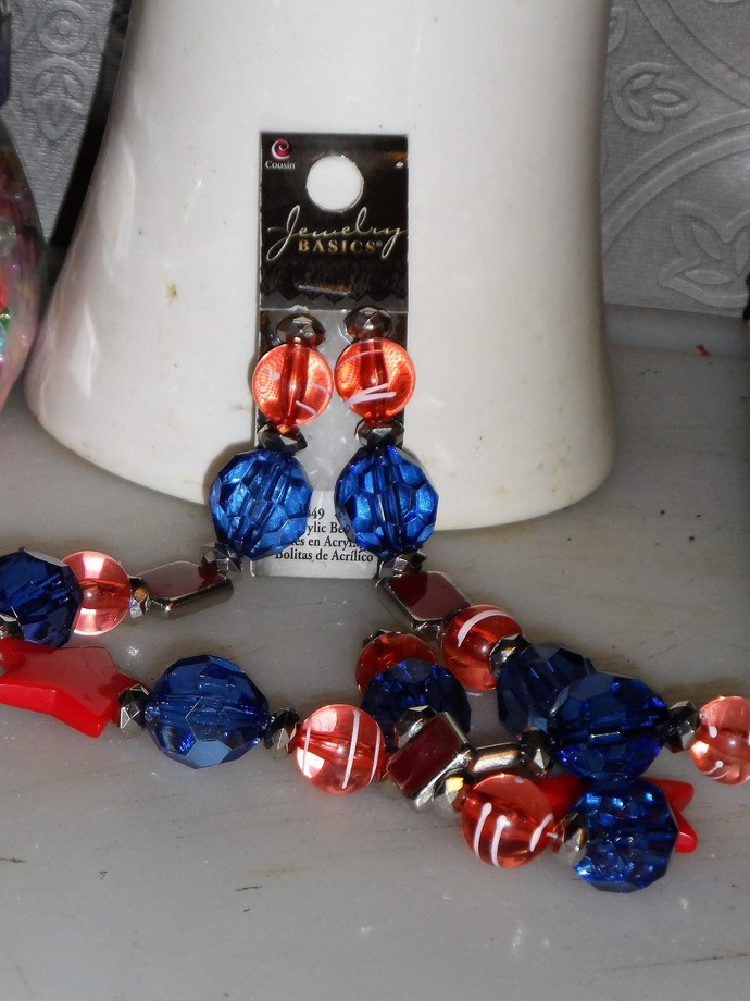 Brand New Red, White, Blue Acrylic Beads Stars , Round, Oblong