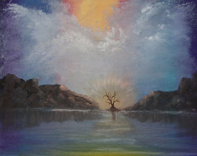 Tree of Life #2 - original acrylic landscape painting by Dawn Blair