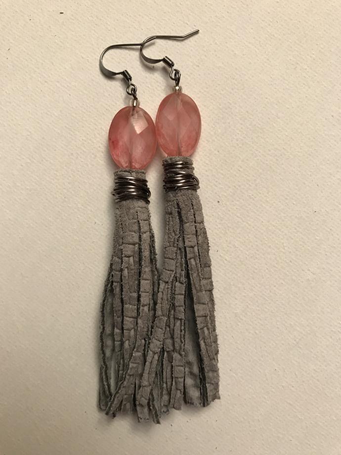 Grey Basket Weave Leather Tassel Earrings in Pink