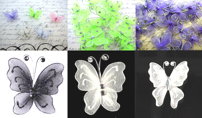 Embellishment Nylon Artificial Butterfly Butterflies Scrapbook Decoration - 1