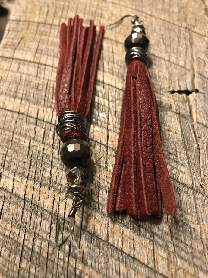 Maroon Leather Tassel Earrings