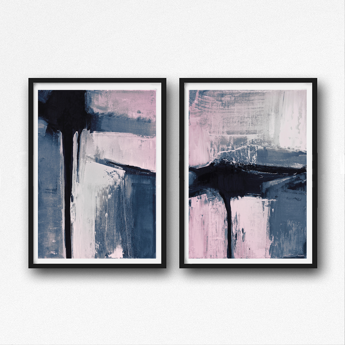 Set of 2 Prints, Abstract Art Prints, Large Wall by SemelArt on Zibbet