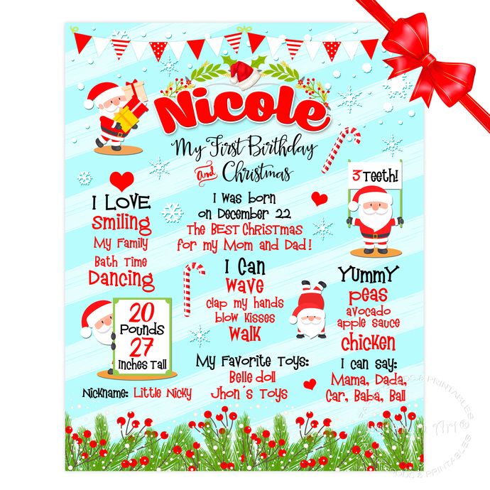 FIRST CHRISTMAS Poster, First Birthday Poster, First Birthday Board, First