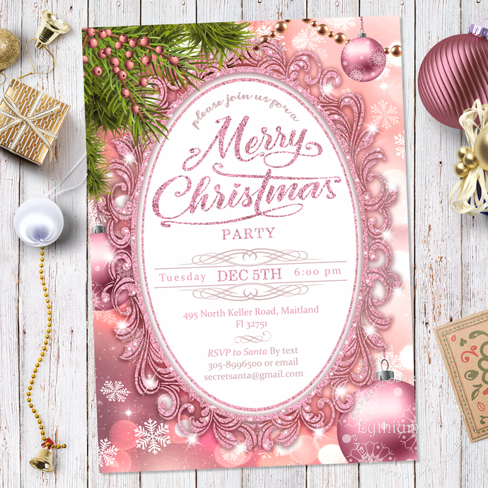 CHRISTMAS Invitation, Christmas Party Invitation, ROSE GOLD Invitation, Secret