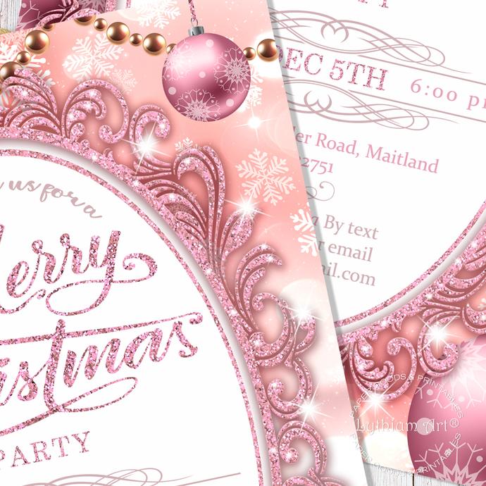 CHRISTMAS Invitation, Christmas Party Invitation, ROSE GOLD Invitation, Secret