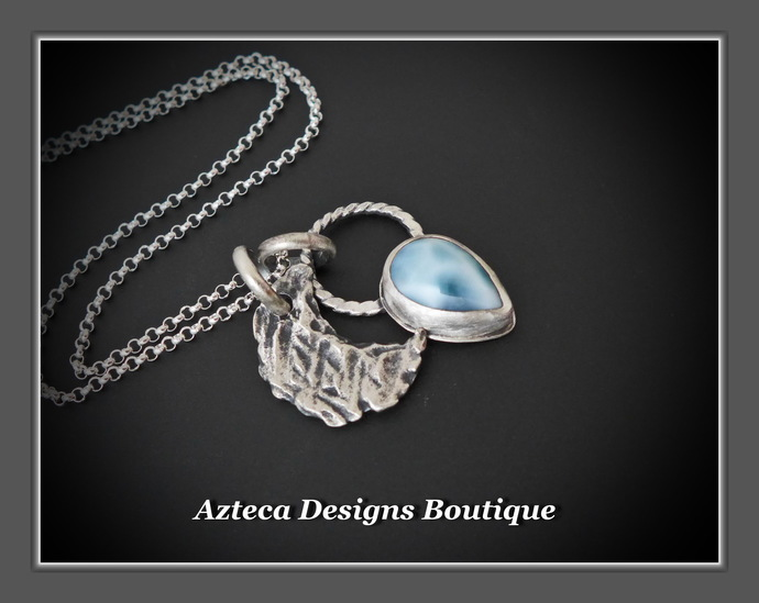 Larimar Hand Fabricated MOON Silver Charm Necklace
